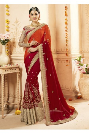 Red Georgette Chiffon Embroidered Bridal Saree 1113