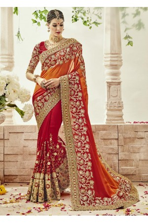 Red Georgette Embroidered Bridal Saree 1103