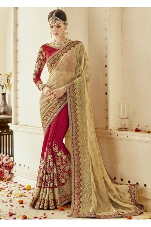 Red Georgette Embroidered Bridal Saree 1105