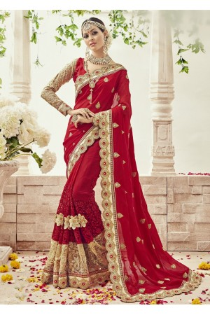 Red Georgette Net Embroidered Bridal Saree 1102