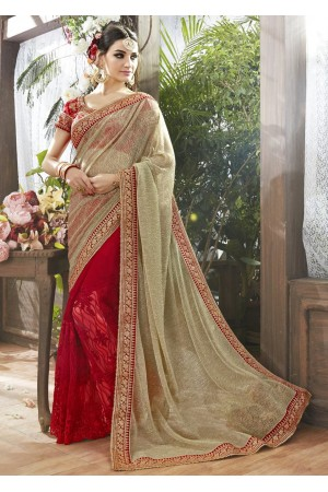 Red Georgette Net Half n Half Embroidered Saree 87060