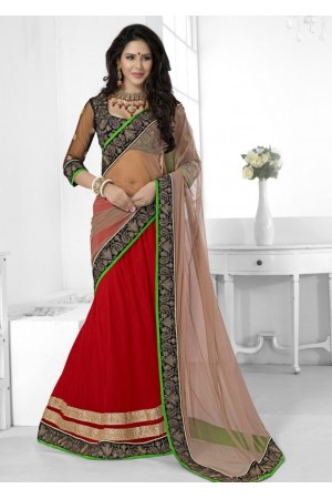 Red Net Embroidered Half n Half Lehenga Saree 38008