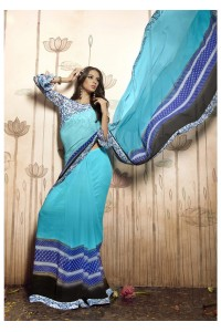 SkyBlue Colored Printed Faux Georgette Saree 31028