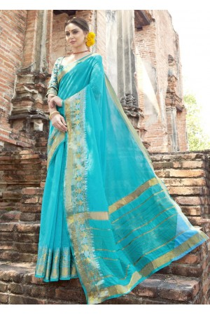 SkyBlue Colored Woven Art Silk Festive Saree 5202