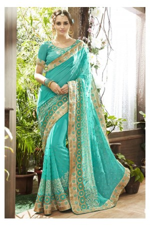 Skyblue Colored Embroidered Faux Georgette Partywear Saree 87061