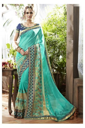 Skyblue Colored Embroidered Faux Georgette Partywear Saree 87071