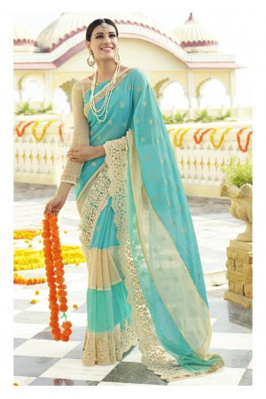 Skyblue Colored Embroidered Faux Georgette Partywear Saree 96061