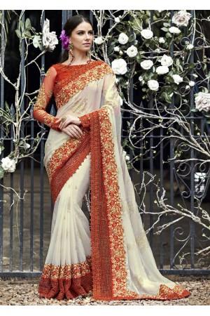 White Colored Embroidered Chiffon Wedding Saree 1029