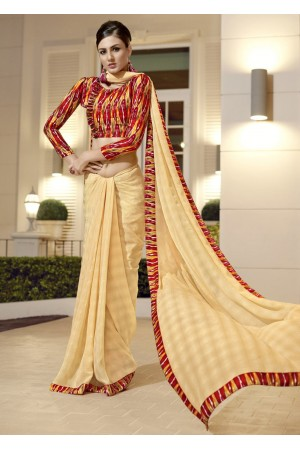 Yellow Chiffon Border Worked Saree 1018