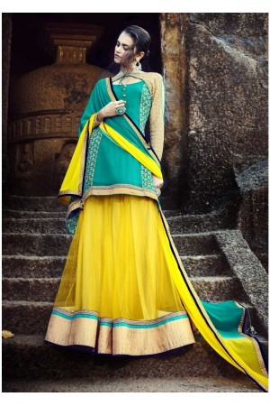 Yellow Colored Embroidered Net Lehenga Choli 88012