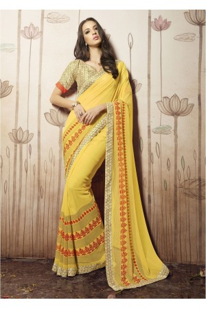 Yellow Colored Printed Faux Georgette Saree 31032