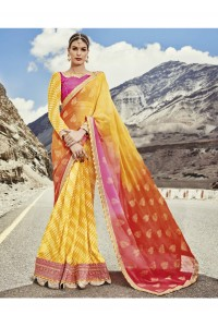 Yellow Colored Printed Georgette Chiffon Saree 2003