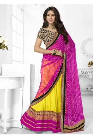 Yellow Georgette Chiffon Border Worked Half n Half Lehenga Saree 46007