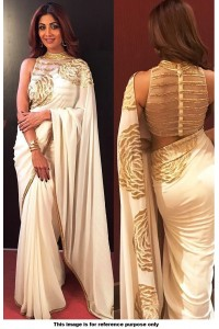 Bollywood Style Shilpa shetty white and gold saree