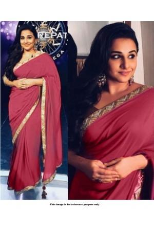 Bollywood Style Vidhya Balan maroon georgette saree
