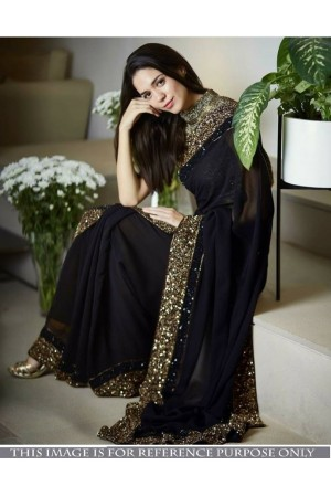 Bollywood model Black georgette sequins saree