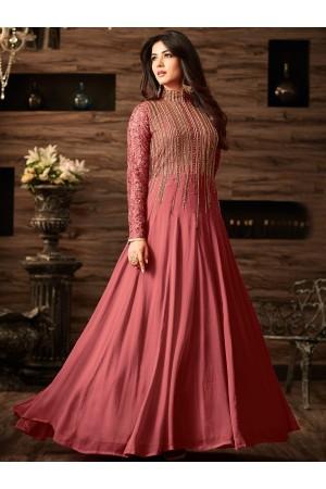 Sonal chauhan onion pink color net anarkali 4806