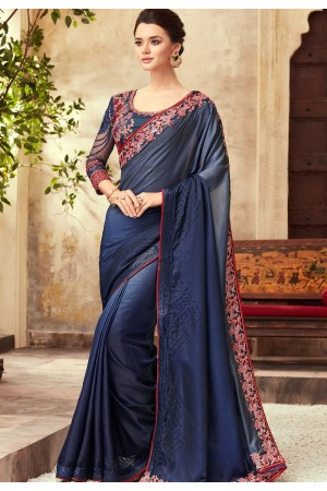 Blue Shade Satin Georgette Party Wear Saree With Border 22005