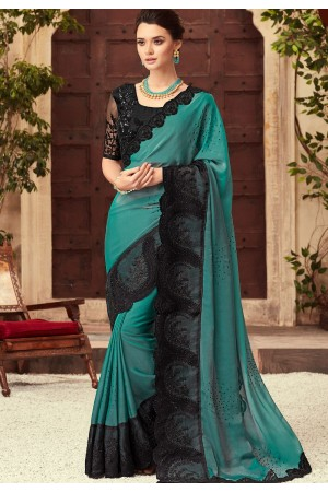 Blue and Black Satin Georgette Party Wear Saree With Border 22007