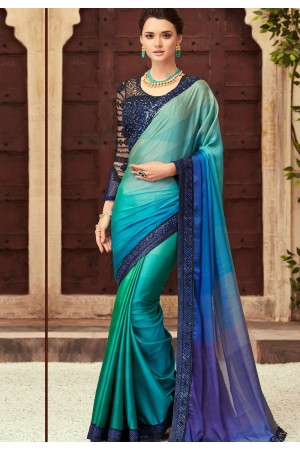 Blue and Green Satin Georgette Party Wear Saree With Border 22016
