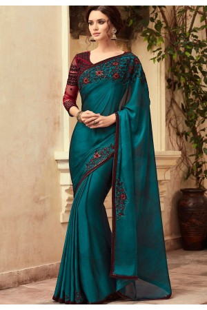 Blue and Maroon Satin Georgette Party Wear Saree With Border 22015