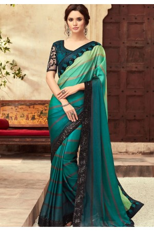 Blue and Rama Green Satin Georgette Party Wear Saree With Border 22002