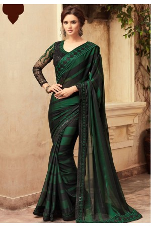 Dark Green Satin Georgette Party Wear Saree With Border 22013