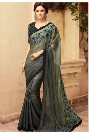 Green and Black Satin Georgette Party Wear Saree With Border 22008