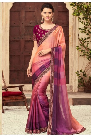 MultiColor Satin Georgette Party Wear Saree With Border 22006