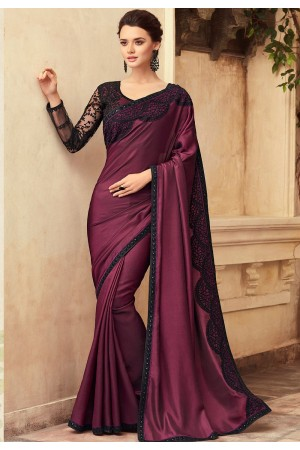 Purple Satin Georgette Party Wear Saree With Border 22011