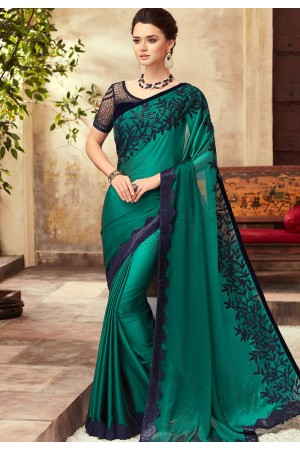 Rama Green Satin Georgette Party Wear Saree With Border 22004