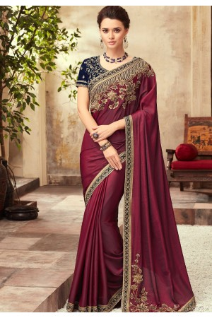 Wine and Blue Satin Georgette Party Wear Saree With Border 22003