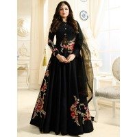 Drashti Dhami black color silk party wear anarkali kameez