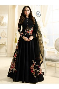 Drashti Dhami black color silk party wear anarkali kameez