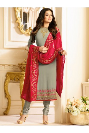 Drashti Dhami grey color georgette party wear kameez