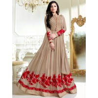 Drashti Dhami light brown color georgette party wear anarkali kameez