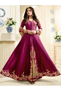 Drashti Dhami magenta color silk party wear anarkali kameez