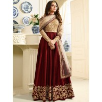 Drashti Dhami maroon color silk party wear anarkali kameez