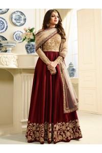Drashti Dhami maroon color silk party wear anarkali kameez