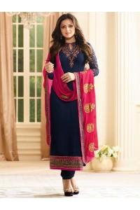 Drashti Dhami navy blue color georgette party wear kameez