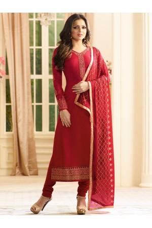 Drashti Dhami red color georgette party wear kameez