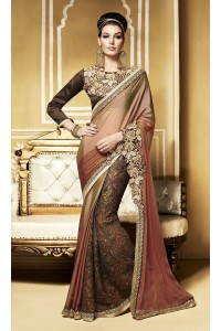 Party-wear-Beige-Brown-color-saree