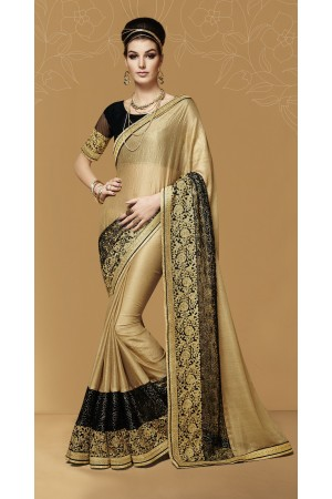 Party-wear-Beige-black-color-saree