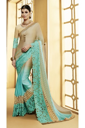 Party-wear-beige-green-color-saree