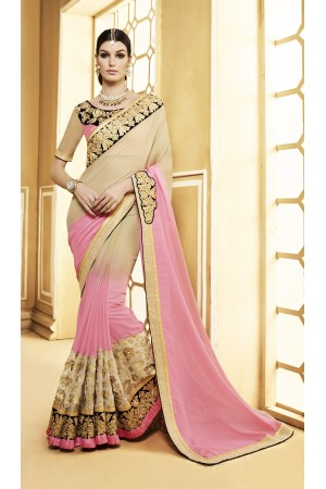 Party-wear-beige-pink-color-saree