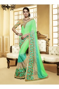Party-wear-green-beige-colour-saree
