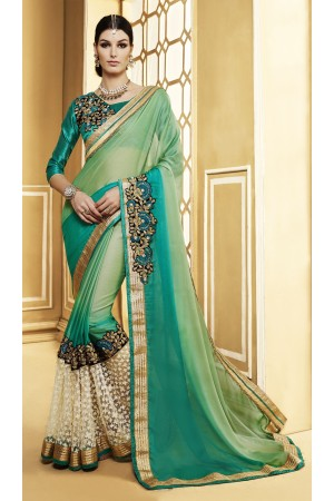 Party-wear-light-green-color-saree