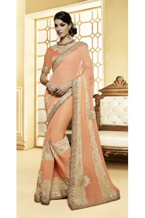Party-wear-Peach-color-8-saree