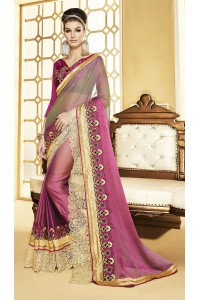 Party-wear-pinky-cream-color-saree