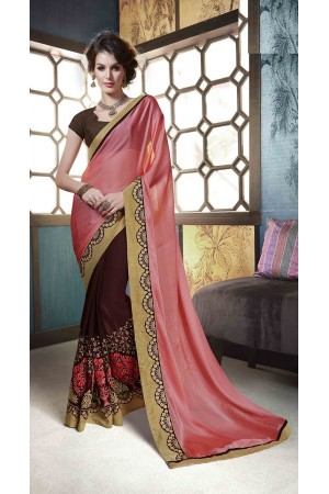 Party-wear-brown-peach-colour-saree